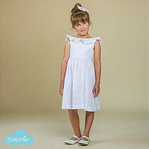 Vestido Bebê e Infantil Babado Branco