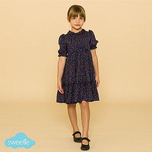 Vestido Infantil Lírio Azul Marinho Estampado
