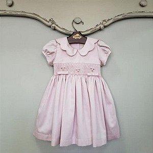 Vestido Bordado Bebê Gola Matame Rosé DEF