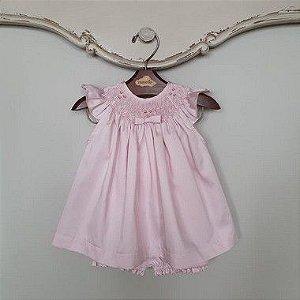 Conjunto Batinha Bordado Bebê Laço Chanel Rosé DEF