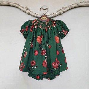 Conjunto Batinha Bordado Bebê Floral Verde DEF