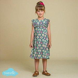 Vestido Infantil Milão Estampado Gatinho DEF