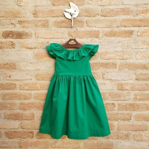 Vestido Bebê Manguinha Babado Verde