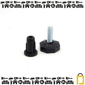 Pé Nivelador Base Plástica e Bucha - 1/4 - 20mm - 4 unid