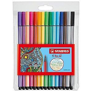 Kit Stabilo Pen 68 brilliant colors 15 cores