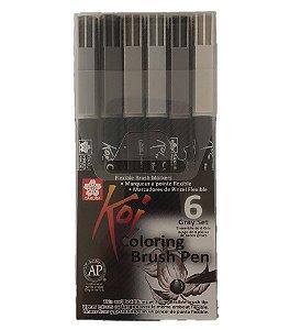 Estojo Canetas Ponta Pincel Koi 6 cores tons cinza