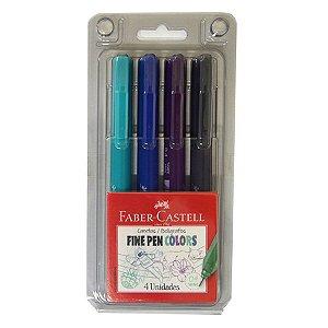 Estojo Faber Castell Fine Pen Tons Frios 4 cores