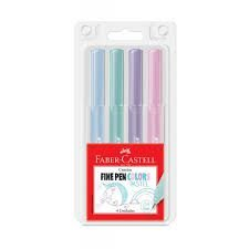 Estojo Faber Castell Fine Pen Pastel 4 cores