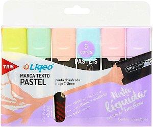 Estojo Marca Texto Tris Liqeo Pastel 6 cores