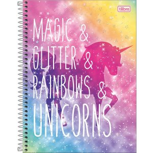 Caderno Universitário Tilibra Blink Unicornio Magic Glitter 10 materias