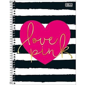 Caderno Universitário Tilibra Love Pink Coração 10 Materias