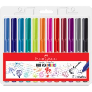 Conjunto Canetas Fine Pen Colors Faber Castell - 12 Cores