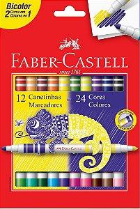 Conjunto Caneta Hidrográfica Bicolor Faber Castell 12 Canetas / 24 Cores