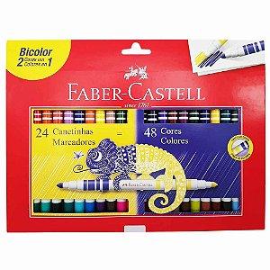 Kit Caneta Hidrográfica Bicolor Faber Castell 24 Canetas / 48 Cores
