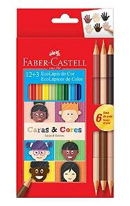Ecolapis de Cor Faber Castell Caras e Cores 12+3 cores