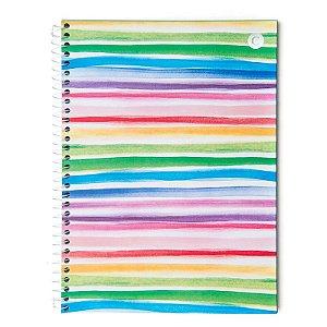 Caderno universitario Cicero Listras Coloridas