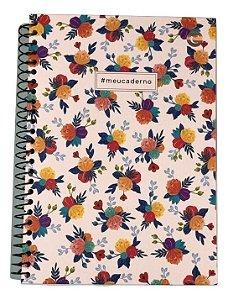 Caderno Colegial Cicero Floral Branco