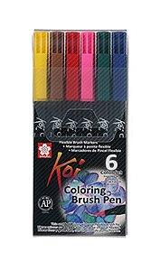 Canetas Ponta Pincel Koi Conjunto 6 cores