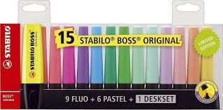 Marca Texto Stabilo Boss Original 15 Cores com Suporte de Mesa