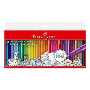 Conjunto Canetas Fine Pen Colors Faber Castell 24 cores