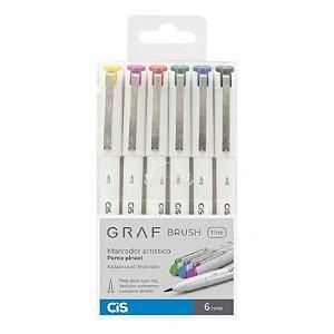 Caneta CIS Graf Brush Fine Conjunto 6 cores