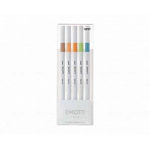 Conjunto de Canetas Uni Emott Ever Fine 0.4mm 5 Cores nº6