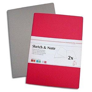 Caderneta de Desenho Hahnemuhle A4 125g Sketch & Note Cinza/Pink
