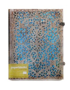 Caderno Premium Paperblanks Silver Filigree Maya Blue