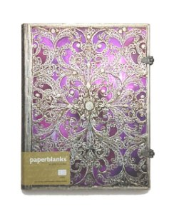 Caderno Premium Paperblanks Silver Filigree Aubergine