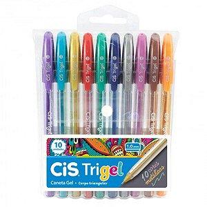 Caneta Gel CIS Trigel Conjunto 10 Cores Metálicas