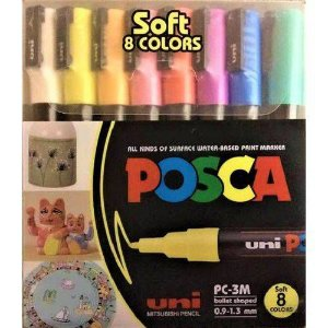 Caneta Posca PC-3M Conjunto 8 Cores Pastel