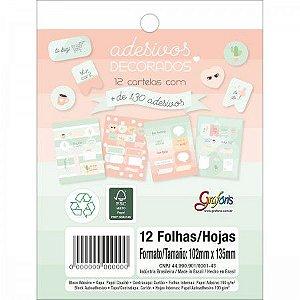 Cartela de Adesivos Decorados Soho - Bloco com 12 cartelas