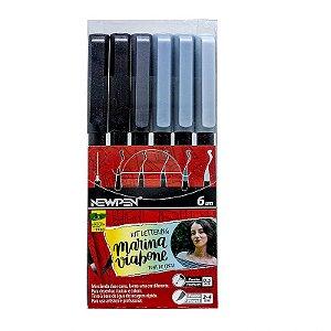 Brush Pen Newpen Conjunto 6 Tons Cinza - Edição Limitada Mariana Viabone