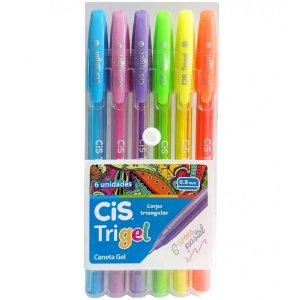 Caneta Gel CIS Trigel Conjunto 6 Cores Pastel