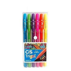 Caneta Gel CIS Trigel Conjunto 6 Cores Neon