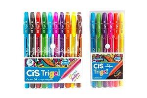 Caneta Gel CIS Trigel Conjunto 10 Cores Fashion + 6 Cores Neon