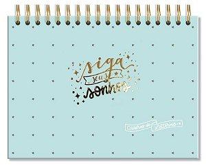 Caderno de Folhas Pretas Siga Seus Sonhos Verde Fina Ideia