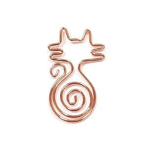 Clips de Papel Ouro Rosé Gato Kit 12 Unidades