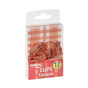 Clips de Papel Ouro Rosé Coracao Kit 12 Unidades