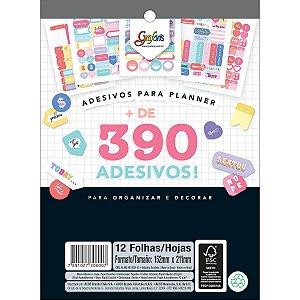 Cartela de Adesivos Decorados para planner - Bloco com 12 cartelas