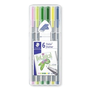 Caneta Fine Pen Staedtler Triplus Fineliner Kit Botanical Colors 6 cores