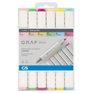 Caneta CIS Graf Duo Conjunto 6 Cores Tons Pastel
