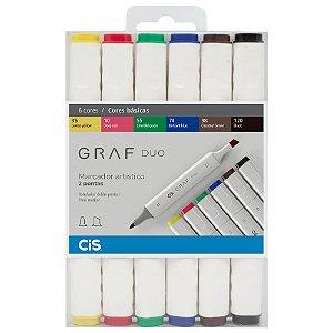 Caneta CIS Graf Duo Conjunto 6 Cores Basicas