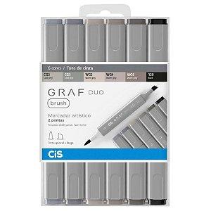 Caneta CIS Graf Duo Brush Conjunto 6 Cores Tons de Cinza