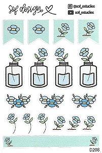 Cartela de Adesivos Decorados Sof Design - D208
