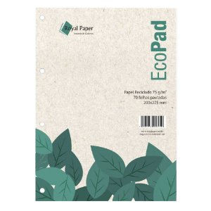 Folhas de Fichario Papel Reciclado 75g Pautadas Universitario EcoPad