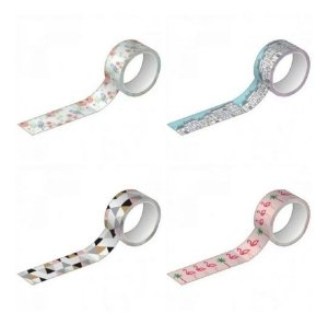 Washi Tape Tilibra Kit 4 unidades Estampadas