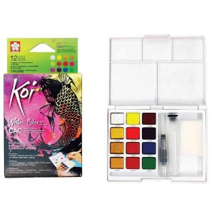 Tinta aquarela Koi Water Colors 12 Cores Metalicas e Neon