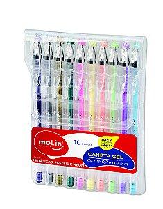 Kit de Caneta em Gel 10 Cores Metalicas e Neon Molin