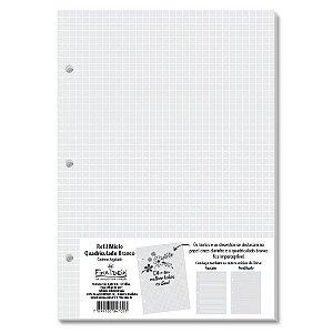 Folhas de Fichario Quadriculado com Linhas Brancas Fina Ideia